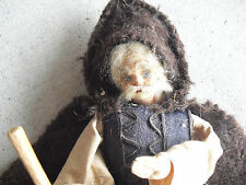 "Unusual Vintage 1930s Cloth Sheepherder Old Man Character Doll 12"" Tall"
