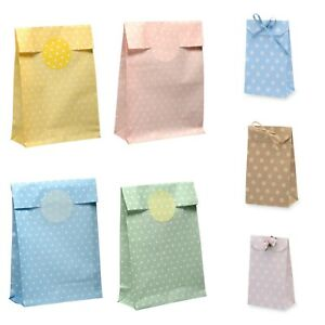 Polka Dot Paper Sweet Bags x10 Party Favour Gift Candy Spotty Pouches Sweet Cart