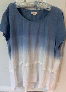 (NWT) Style&Co Women's Blue Ombré & Peach/Grey Striped Short Tops 2X/3X (2)