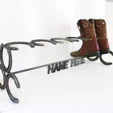 Free Shipping - Custom Name Phrase Horseshoe Boot Rack - 1 Pair TheHeritageForge