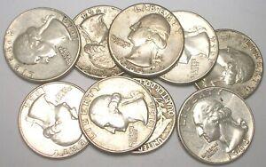 Lot of Nine (9) Coins 1964 Washington Quarters Silver Coins VF-XF
