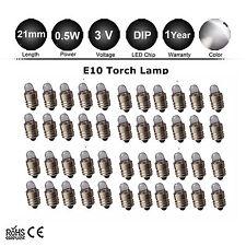 50X 3V 2 D C E10 Screw Energy Saving LED Flashlight Torch Lights Bulb Globe Lamp
