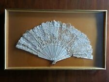 Antique Victorian Lace and Mother of Pearl Fan c.1900 + Frame