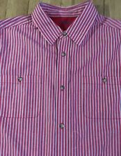 King Size XL Tall Red/White/Blue Stripe Short Sleeves Button Up Shirt