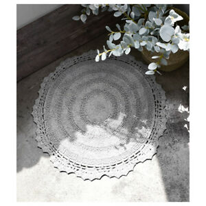 [BELLELIFE] Romaintic Lace Round Bath Mat Gray (100% Handmade India Cotton Mat)