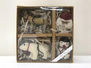 NEW Pottery Barn North Pole Beaded Christmas Tree Holiday Ornaments~SET OF 4