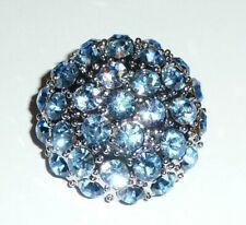 "Pretty Blue Czech Glass Rhinestone Button Silver Base/ Light Sapphire 1-1/8"""