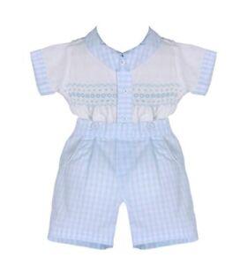PRETTY ORIGINALS BABY BOY 2 PIECE WHITE & GINGHAM SET STYLE MT00817