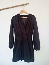 Vintage 70s 80s Secretary Wrap Cross Over Longsleeve Black Pinstripe Dress