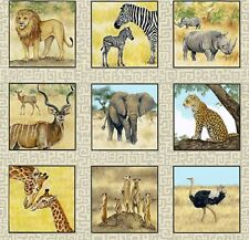 Safari Label Patchworkstoff Tiere Baumwollstoff Stoffe Patchwork Löwen Elefanten