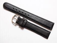 Uhrenarmband 16mm. Schwarz  Dornschließe-Farbe,Silber