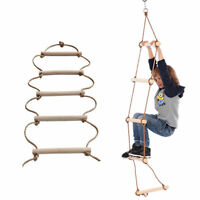 Wooden Ladder Kids Rope Climbing Frames Garden Swing Outdoor Gym Toys Tree House