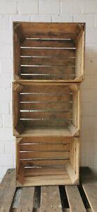 3er Set Alte Holzkisten Obstkisten Weinkisten Apfelkisten Vintage B-Ware