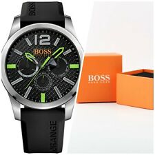 Hugo Boss Orange 1513378 Green Dial Black Silicone Strap Mens Watch🆕️RARE|BOXED