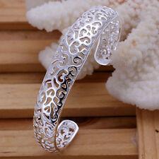 925 Hallmarked Sterling Silver Layered filigree Solid Open Bracelet Bangle B210