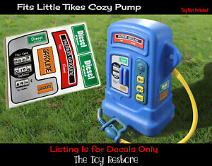 Toy Restore Replacement Sticker fits Little Tikes Cozy Coupe Gas Petrol Pump vtg