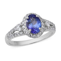 925 Sterling Silver Blue Tanzanite White Zircon Promise Ring Jewelry Gift Ct 1.3