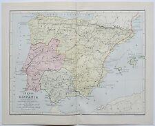Iberia vel Hispania Ancient Spain España Map Circa 1885