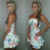 VICKY MARTIN pink blue white floral strapless rara mini dress 10 BNWT RRP £150