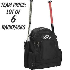 TEAM LOT OF 6 each RAWLINGS COMRADE BAG X-Wide 4 Bat Baseball Softball Backpacks