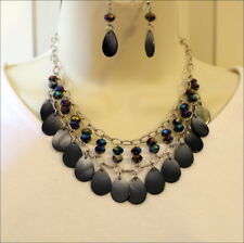 Western Cowgirl Black Gray Iridescent Shells & Beads Necklace Set