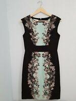 London Times Women's Sheath Dress Round Neck Floral Print Sleeveless.Size 6