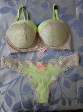 Victoria's Secret bra Dream Angels lined demi 32DD thong M set