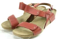 Clarks Women's $120 Ankle Strap Wedge Heel Sandals Size 8.5 Red