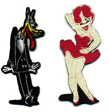 Tex Avery patch set big bad wolf wolfy red hot pin up retro rockabilly cartoon