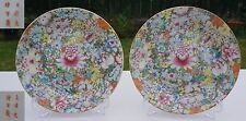 FINE PAIR Antique Chinese Porcelain Famille Rose GILT Millefiori Plate GUANGXU