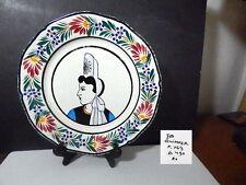 HB QUIMPER, France, Folk Art Woman Portrait Dinner Plate