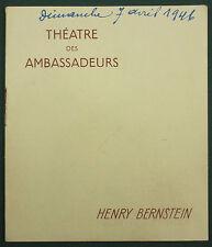 PROGRAMME DU THEATRE DES AMBASSADEURS - 1946 - LE FLEUVE ETINCELANT