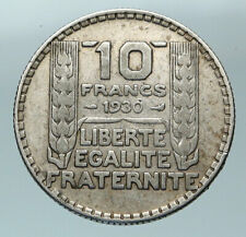 1930 FRANCE w Marianne FRENCH MOTTO Antique Genuine Silver 10 Francs Coin i84489
