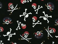 FAT QUARTER FABRIC  PIRATES SKULLS CROSSBONES  SWORDS  BANDANA  HI FASHIONS  FQ