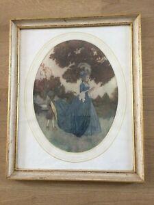 Ancienne gravure de Mode Illustrée dans son cadre bois blanc doré