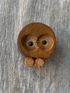 Vintage Wooden Owl Magnet, Japan