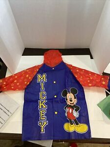 New Vintage Mickey Mouse Blue & Red Raincoat Toddler & Boys 7