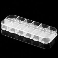 12 Compartment Empty Plastic Storage Case Nail Art Gems Beads Rhinestone Box