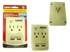 2 Outlet Socket Adapter With 2 USB Charging Ports and Protected Light CM-12041