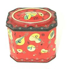 Old biscuit tin Weston LLantarnam Stylised musical instruments Notes Red  25