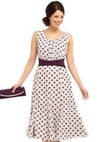 New Jacques Vert dress 16 22 Chiffon Oyster Plum Spotted Spot Polka dot rrp £159