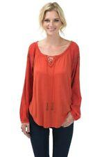 Flirty Boho Burnt Orange Tunic with Sleeve Embroidery, Bow + Arrow, S, M or L