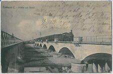CARTOLINA d'Epoca  BERGAMO  - Romano di Lombardia : PONTE SUL SERIO 1918 - TRENO