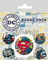 DC ORIGINALS SUPERMAN Comic Badge Pack of 5 Safety Pin Backed Badges