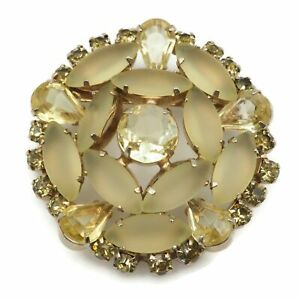 Vintage Gold Tone Frosted And Clear Light Yellow Glass Rhinestone Brooch Pin