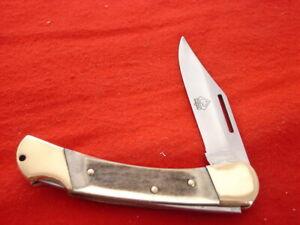 """Puma Made in Germany 4-1/4"""" DUKE Genuine Stag Lockback Knife"""