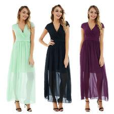 Women Chiffon Dresses Sexy Deep V Neck Short Sleeve High Waist Long Dress  US WF