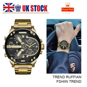 Mens Luxury Wrist Watch Chronograph Stainless SteelSports Fashion Quartz Unisex~