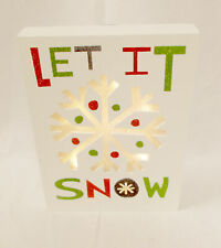 """Let it Snow White Winter Christmas Light-up Wood Cutout Wall Hanging Decor 7"""" N"""