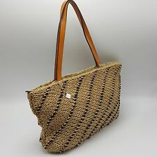 Sak Purse Handbag Natural Weave Navy Blue Zipper